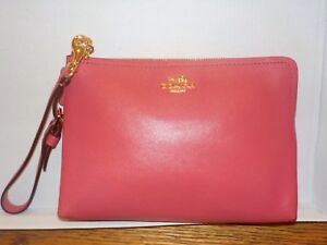 NWT Coach Madison Leather Pouch Clutch Wristlet Wallet - Loganberry/Brass  52115