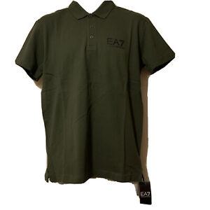 Genuine Men's Armani EA7 Polo Shirt Size Large Forest Night 6YPF52 PJ61Z BNWT