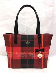 Kate Spade PXRU5754 Hawthorne Lane SMALL Ryan Plaid Bag CHERRY LIQUEUR Red NWT
