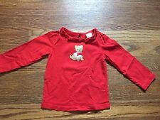 Nwot Janie and Jack Red Long Sleeve Shirt with Applique Dog Size 12-18 Months