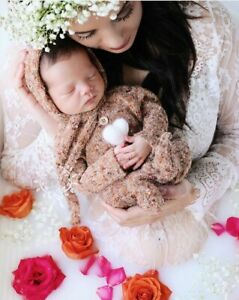 Newborn Knit Romper & Bear Hat SET Baby Photo Photography Prop Cloth Bodysuit