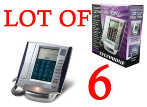 LOT OF SIX LCD Touch Panel Caller ID Business Office Phone W Calendar Calculator