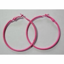 Bijou fantaisie : boucles d'oreille créoles rose fluo , Diam  5 cm