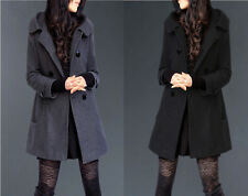 New Women Lady Wool Double-Breasted Hooded Slim Parka Trench Coat Long Overcoat