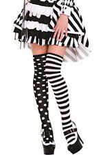 Polka Dot Mismatch Black White Thigh Hi Halloween Cosplay Party Gothic 80's