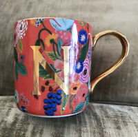 Anthropologie N Initial Mug Rifle Paper Co Floral Gold Coffee Tea Cup Monogram