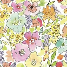 Fabric Flowers Watercolors Digital Happy Meadows on White Cotton by the 1/4 yard
