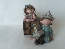 """Sarah's Attic Muffin N' Puffin Chest Book Reading Blue Pink 3 1/2"""" Tall"""
