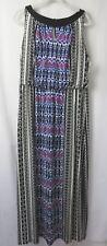 London Times Woman Maxi Dress Sleeveless Blk Wht Multi Print Size 14W  #6975