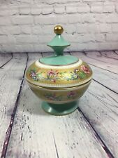 Vtg C. Fiorentine Italy Footed Candy Dish w Lid Floral Gold Accent Pottery