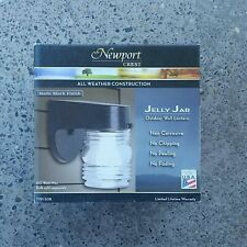 Newport Crest Jelly Jar Wall Lantern Matte Black Light Fixture Outdoor Porch