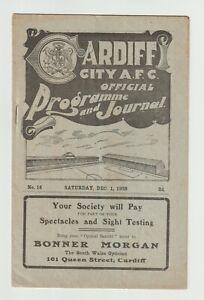 Cardiff City V Birmingham City Very Rare Division One Programme 1928 - Superb