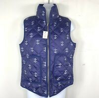 Top It Off Womens Vest sz Small Navy Blue White Anchor Zip Front Puffer Vest New