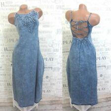 NEU Leichte Jeanskleid Sommer Maxi Kleid Trägerkleid Stickerei M 38 Blau P5616