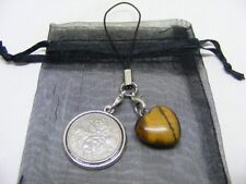 1965 Lucky Sixpence & Tiger Eye Heart Phone / Bag Charm - Nice Birthday Gift
