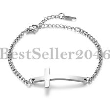 f3e8dfb972b Women Christian Sideways Cross Religious Chain Stainless Steel Bracelet  Anklet