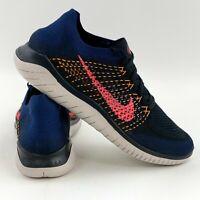 Nike Free RN Flyknit 2018 Navy Blue Crimson Men's Running Shoes Gray 942838 068