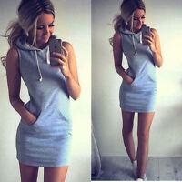 Sexy Womens Slim Bodycon Clubwear Bandage Mini Dress Ladies Hoodie Pockets Lot