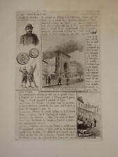 RARE Gravure Eau Forte SIEGE de PARIS 1870 MARTIAL POTEMONT BOUCHERIE CHEVALINE
