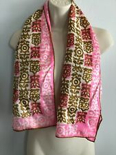 Vintage Vera Neumann Scarf Ladybug 100% Nylon Japan 15 x 43 Rectangle Pink
