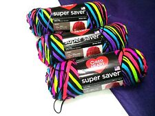 NEW Red Heart Super Saver Yarn 3 - 5oz Skeins Same Dye Lot NEON STRIPES