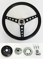 C15 C25 C35 C1500 Jimmy Black on Black Steering Wheel GMC center cap 14 1/2""