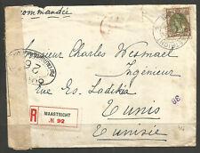 NETHERLANDS / TUNISIA. WW1. 1918. REGISTERED CENSORED COVER TO TUNIS VIA LONDON