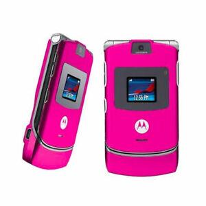 Motorola Razr V3 Unlocked International Cellular Phone Flip Mobile Phone Pink