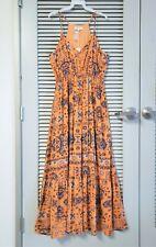 mustard print spghtt strap maxi long dress M w/ anthropologie earrings