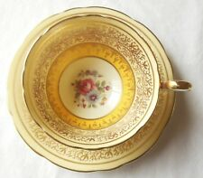 Vintage Aynsley England Bone China Yellow Yolk Gold Floral Cup & Saucer 1939 Mar