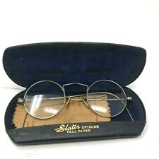 vintage 30s-40s wire rimmed flexible curved leg round Lennon glasses orig case