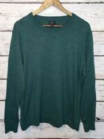 J. Crew Cotton Crewneck Casual Sweater Green Men's Size Large Layering