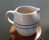 """Vintage 7"""" blue ring Jug pitcher Stoneware Paul Storie Pottery Marshall Texas"""