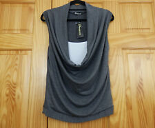 BREZZA - New - size M / L grey & white jersey sleeveless top with a cowl front
