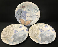 "Set of 3 - Lenox *COLLAGE BUTTERFLY* Accent / Salad PLATES 8.5"" Alice Drew"