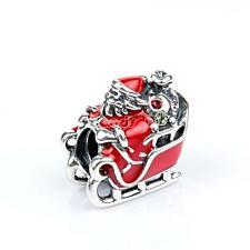 925 Silver Murano Christmas Beads Lampwork Charm Bead for European Bracelet Clau