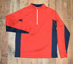 FOOTJOY 1/4 Zip Nylon Stretch Long Sleeve Jacket Red Blue Men Medium EUC B52
