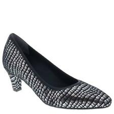 $136 Ros Hommerson KARAT Womens Heels 11WW Extra Wide Silver Croc Shoes Pumps