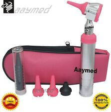 Otoscope Set D head type, pink color with disposable speculas also, Parker Style