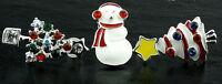Adorabile set di tre Albero di natale e pupazzo di neve orecchini con cristallo