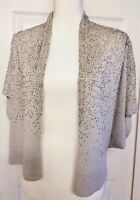 Eileen Fisher Womens Beaded Open Front Shrug Sweater Gray Bolero S
