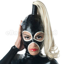 Sexy Latex Mask with Hairpiece Rubber Hood with Back Zipper Club Wear Cosplay