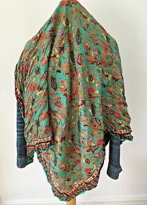 Vintage Green  Multi Colour Silk Paisley Scarf Large