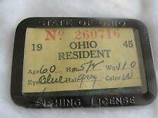 1945-Ohio Resident fishing license in metal holder