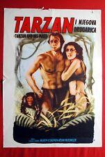 TARZAN & HIS MATE JOHNNY WEISSMULLER 1960's RARE EXYU MOVIE POSTER ORIGINAL