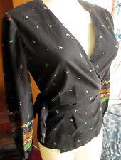 MEDIUM True Vtg 70's KIMONO HIPPY Black COTTON FLORAL PRINT Belted Top Shirt