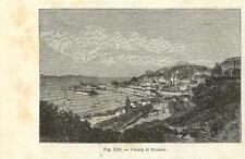 Stampa antica MESSINA veduta panoramica Sicilia 1889 Old antique print