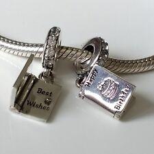HAPPY BIRTHDAY CARD Charm Clear CZs Bead for European charm bracelets