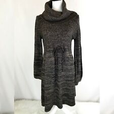 Calvin Klein Womens Sweater Dress Large Brown Cowl Neck Long Sleeve Tie Waist