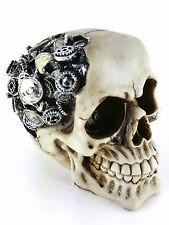 NEW Collectible STEAMPUNK GEAR BRAIN SKULL Handpainted Resin Statue STEAM PUNK